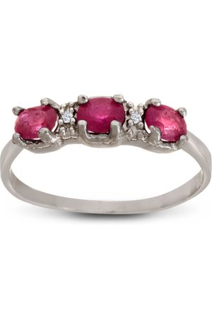 SuperJeweler 1 Carat Three Stone Ruby Ring w/ Diamonds in Sterling