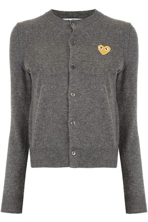 Comme des Garçons Logo-patch knitted cardigan - Grey