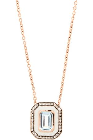 SELIM MOUZANNAR Women Necklaces - Mina Diamond, Aquamarine & 18kt Rose-gold Necklace - Womens