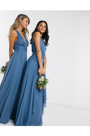 ASOS Bridesmaid pinny maxi dress with ruched bodice and layered skirt detail in