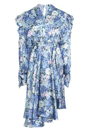 Balenciaga Gather floral silk satin dress