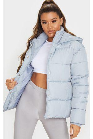 PRETTYLITTLETHING Light Grey Peach Skin Hooded Puffer Jacket