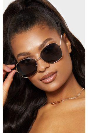 PRETTYLITTLETHING Oversized Square Lens Gold Metal Frame Sunglasses