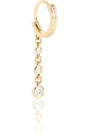 JACQUIE AICHE 3 Dia Drop Mini Hoop 14kt yellow and diamond single earring