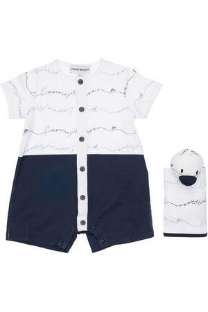 Emporio Armani Cotton Jersey Romper, Toy & Pouch