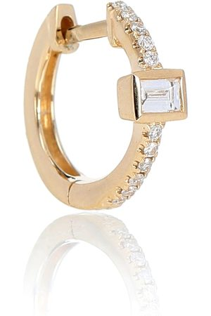 JACQUIE AICHE Pave Baguette Mini Hoop 14 yellow single earring with diamonds