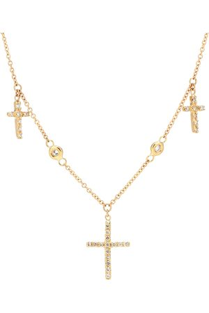 JACQUIE AICHE 14kt triple cross necklace with white diamonds