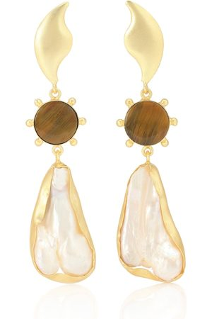 Peet Dullaert 14kt -plated earrings with tiger's eye and viva pearl