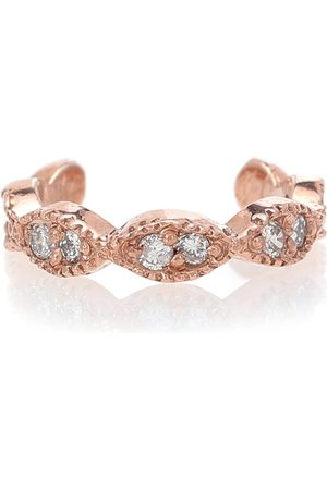 JACQUIE AICHE Pave Marquise 14kt rose ear cuff with diamonds