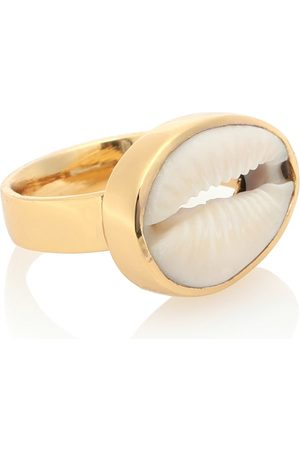 Tohum Design 22kt plated cowry shell ring