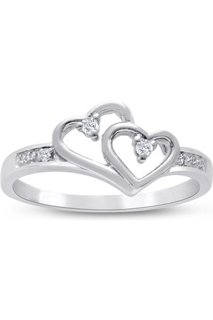 SuperJeweler .05 Carat Double Heart Diamond Promise Ring in Sterling