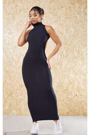 PRETTYLITTLETHING Recycled High Neck Cut Out Back Midi Dress