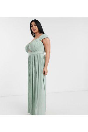 ASOS ASOS DESIGN Curve premium lace and pleat bardot maxi dress