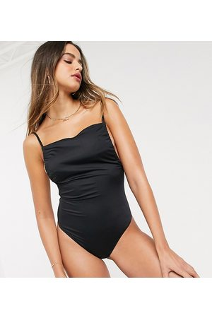 ASOS ASOS DESIGN tall ruched skinny tie back swimsuit in