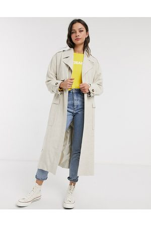ASOS Luxe oversized linen look trench coat in cream