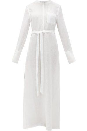 Another Tomorrow Women Maxi Dresses - Belted Organic-linen Maxi Dress - Womens