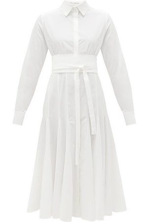 Another Tomorrow Belted Godet-panelled Organic-cotton Shirt Dress - Womens
