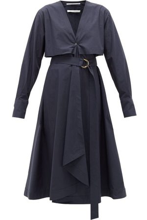 Another Tomorrow Belted Organic Cotton-poplin Shirt Dress - Womens - Navy