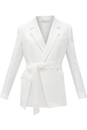 Another Tomorrow Double-breasted Belted Organic-linen Jacket - Womens - White