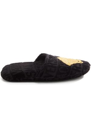 VERSACE Medusa-embroidered Logo-velvet Slippers - Mens