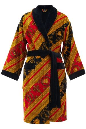 VERSACE Baroque-print Cotton-velour Bathrobe - Mens
