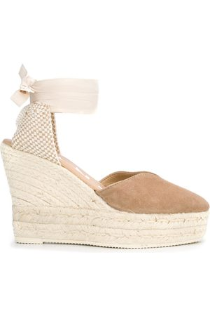 MANEBI Wrap-tie wedge sandals - Neutrals