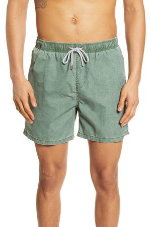 Vintage Summer Men's Solid Washed Nylon Swim Trunks