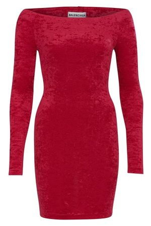 Balenciaga Women Party Dresses - Cycling mini velvet dress