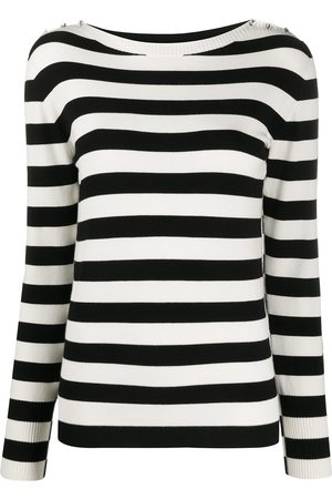 Twin-Set Women Sweaters - Striped rhinestone button jumper