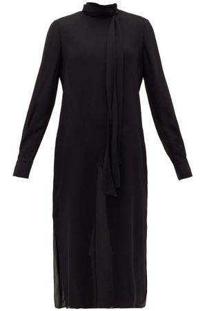 Another Tomorrow Tie-neck Georgette Midi Dress - Womens