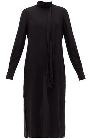 Another Tomorrow Women Midi Dresses - Tie-neck Crepe Midi Dress - Womens