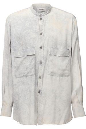 Rochas Men Shirts - Marmorized Dyed Silk Shirt