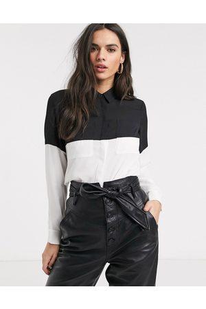 ASOS Long sleeve color block shirt in mono print
