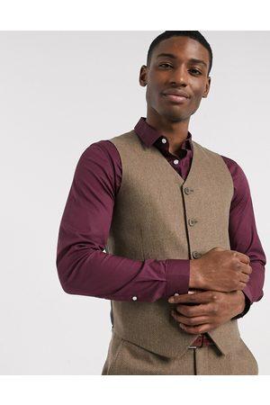 ASOS Wedding super skinny wool mix suit suit vest in camel herringbone
