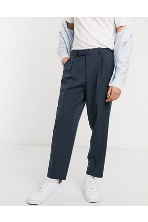ASOS Oversized tapered smart pants in navy