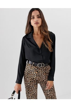 ASOS Relaxed satin long sleeve shirt in