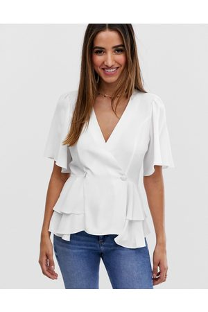 ASOS Tux top with angel sleeve and button detail in Ivory