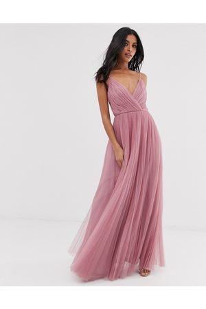 ASOS Cami pleated tulle maxi dress in rose