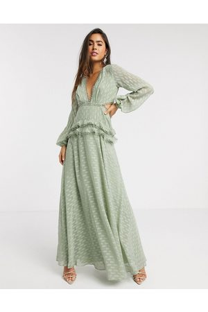 ASOS Jacquard tiered maxi dress with lace trim detail in sage