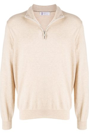 Brunello Cucinelli Mock neck cashmere jumper - Neutrals