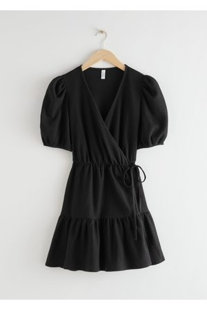 & OTHER STORIES Puff Sleeve Wrap Mini Dress