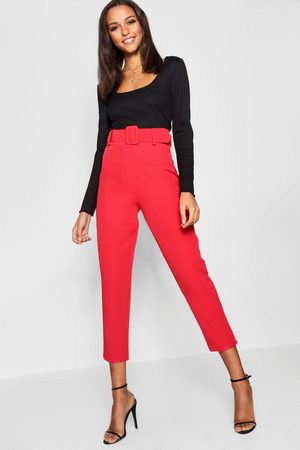 Boohoo Womens Wide Buckle Belt Straight Tapered Pants - 2