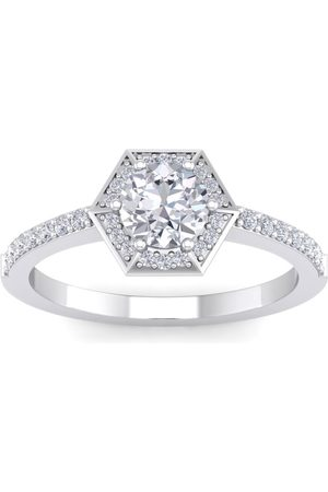 SuperJeweler 1 Carat Halo Diamond Engagement Ring in 14K (3.60 g) (
