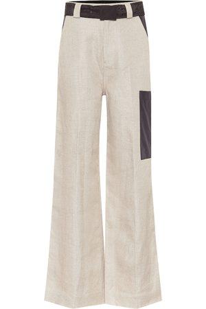 Ganni High-rise wide-leg linen pants