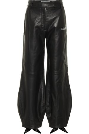 OFF-WHITE Women Leather Pants - Bow cuff leather pants