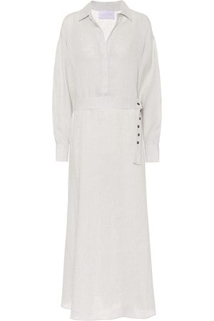 ASCENO Women Casual Dresses - Porto linen maxi shirt dress