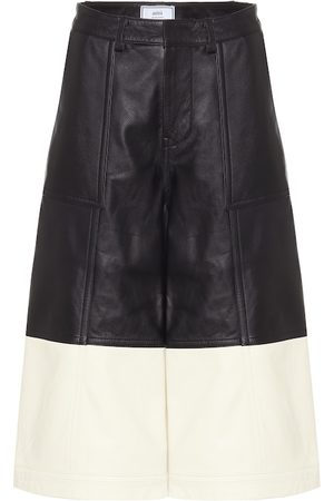 Ami Women Leather Pants - Leather culottes