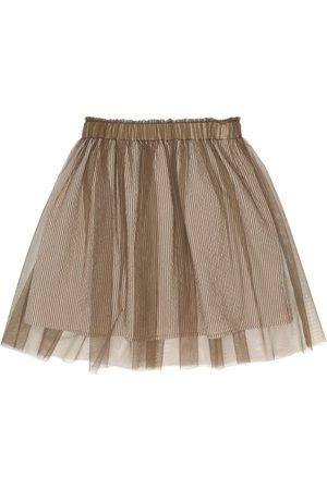 Brunello Cucinelli Striped stretch-seersucker skirt