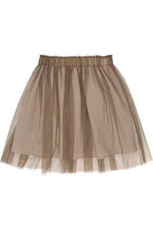 Brunello Cucinelli Striped stretch-seersucker skirt
