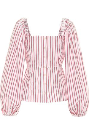 Ganni Women Blouses - Striped cotton blouse